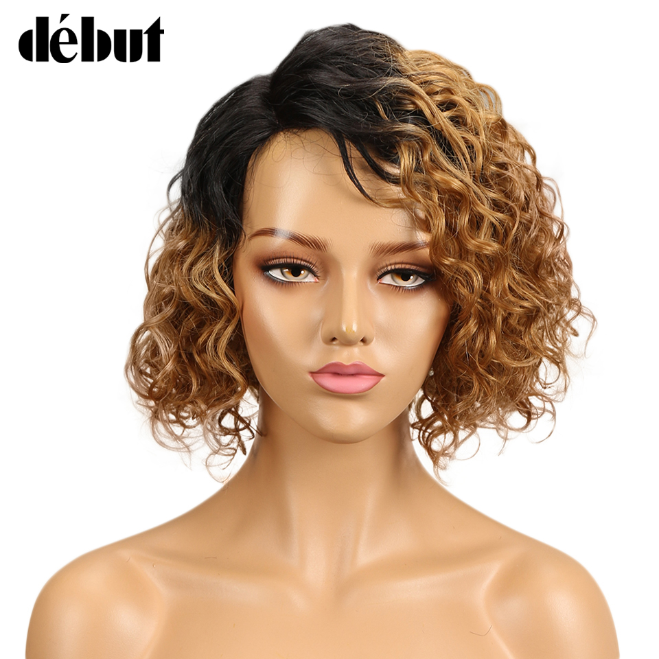 Debut Wig Human Hair Ombre Bob Lace Wig Short Ombre Curly Human Hair Wigs For Black Women Brazilian Remy Water Wave Lace Wig