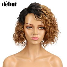 Debut Wig Human Hair Ombre Bob Lace Wig Short Ombre Curly Human Hair Wigs For Black Women Brazilian Remy Water Wave Lace Wig(China)
