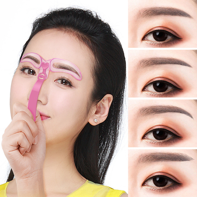 4Pcs/Set Reusable Eyebrow Stencil Set Eye Brow Mold DIY Drawing Guide Styling Shaping Template Card Makeup Beauty Kit