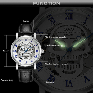 Image 5 - SAS Üst Marka Lüks Erkek mekanik saatler Deri Kayış Erkekler İskelet kol saati Saat relogio masculino