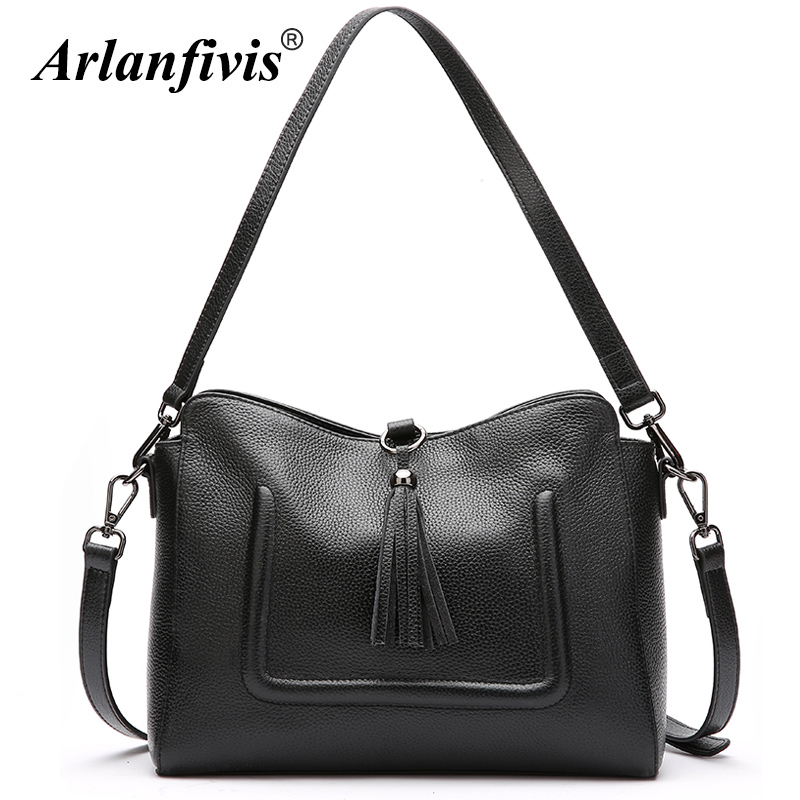 Arlanfivis Genuine Leather Luxury Fashion Tassel Woman Hobo Bag bolsa feminina Handbag crossbody bags for women Tote bag Cowhide arlanfivis genuine leather new designer 2018 fashion woman bag cowhide large capacity female handbag wide strap crossbody bags