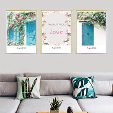 Simple Small Fresh Floral Mediterranean Door Landscape Canvas Decorative Painting Art Abstract Poster Picture Wall