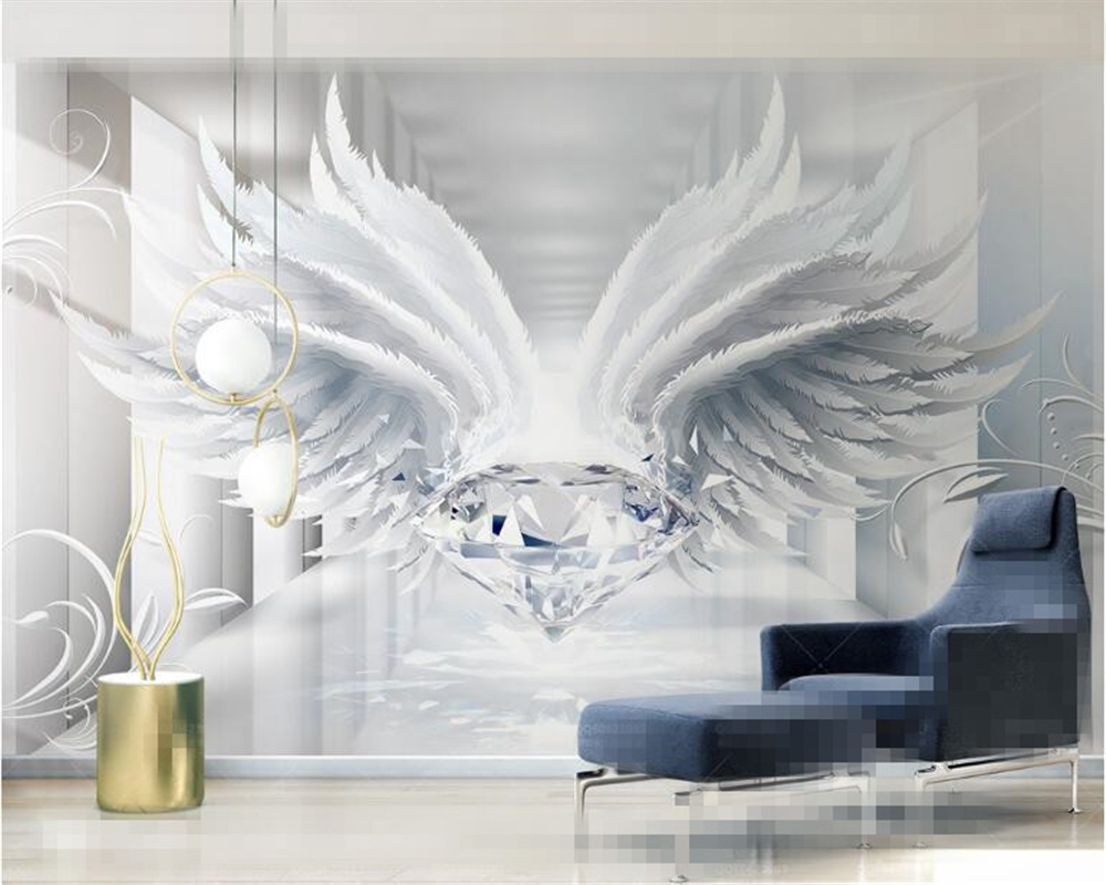 Beibehang Classic Indoor Wall Paper Blue Sky White Clouds Rainbow Circuit Board Murals Custom Personalized Wallpaper 3d Space Diamonds And Wings European Style Pattern Tv Background Papers