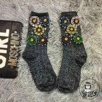 2016 High End Custom Socks Tide Brand Diamond Flower Silver Beaded Sequined Socks Women In Tube