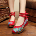Platform Size 41 Fashion Women Shoes, Old Beijing Mary Jane Flats With Casual Shoes, Chinese Style Embroidered Cloth shoes woman