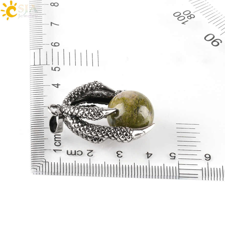CSJA ธรรมชาติอัญมณีรอบลูกปัดหิน Dragon Claw Wrap จี้สำหรับสร้อยคอ Reiki Ball Gothic Retro ผู้หญิงคริสตัลเครื่องประดับ e453