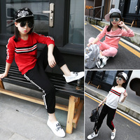 2016 Female Children Autumn 2pcs Sets Girls Long Sleeve Loose Sports Set