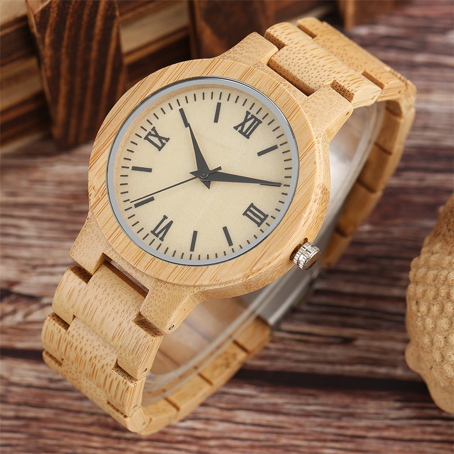 Bamboo zebra wood watch roman numerals dial ladies watch08