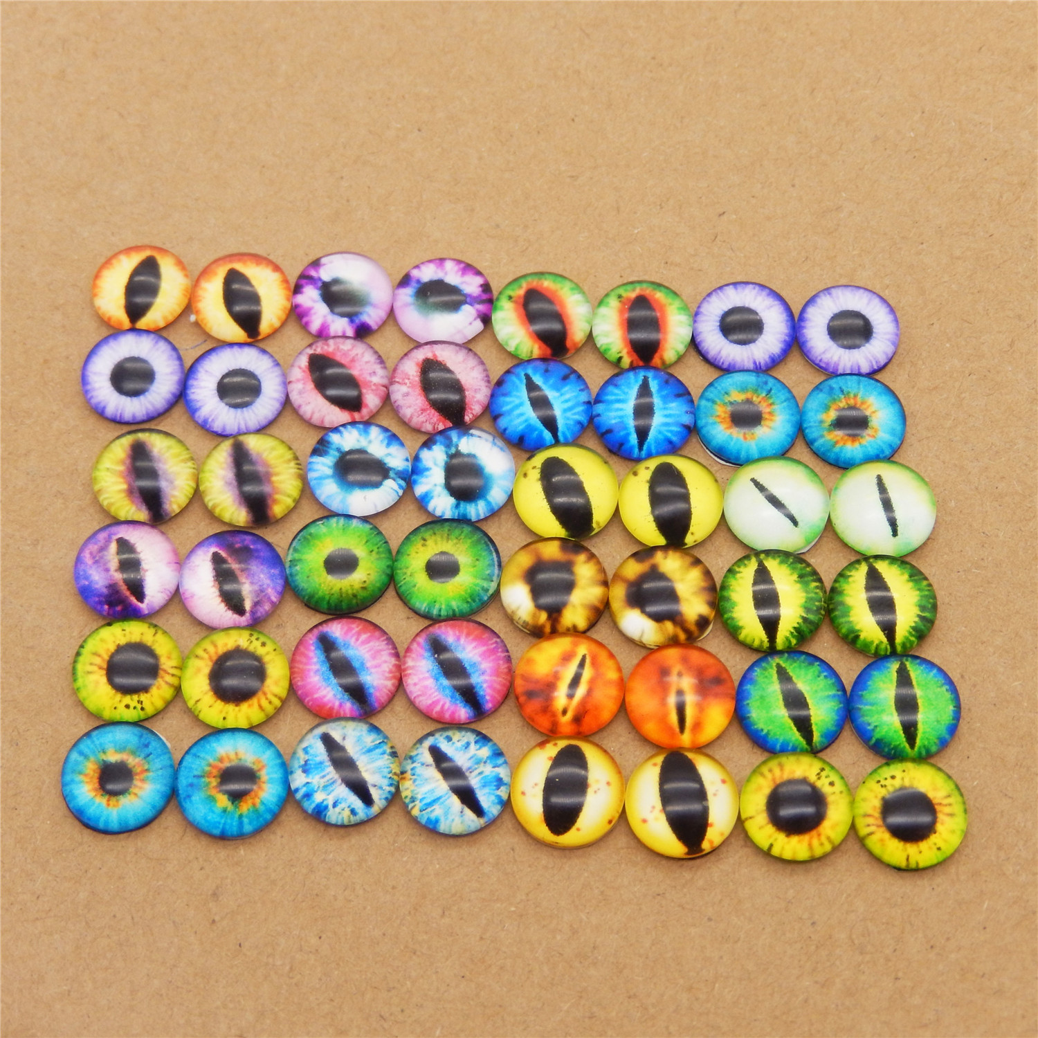 10-50PCS Round 6MM-30MM Glass Dragon Cat Eyes Cabochon Charms Accessory Glass Cabochon Multi Color Horse Eyes Cat Pattern Crafts(China)