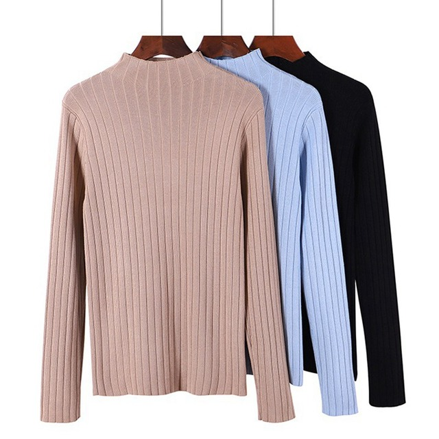 b1f92814ad7 Women Basic Turtleneck Sweater Thick Warm Pullover Long Sleeve Ribbed  Knitted Tops 2018 Autumn Winter Female