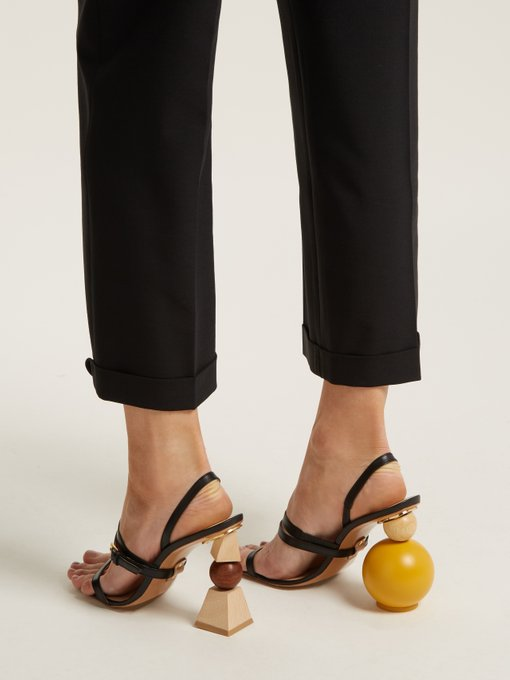 Newest Asymmetry Abnormal Strange Style Heels String Bead High Heels Summer Women Sandals Building Block Heeled Sexy Dress Shoes