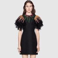 Высокое качество взлетно посадочной полосы дизайнер новый сезон: весна–лето платье Для женщин высокое качество лоскутное короткий рукав o