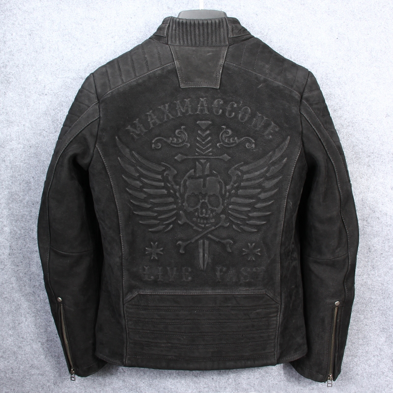 8ee7d513beb 2019 2018 Vintage Black Men Skull Biker S Leather Jacket Plus Size ...
