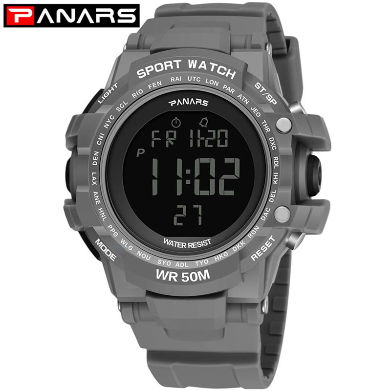 PANARS High End Men And Women Sports Outdoor Sports Digital Luminous Waterproof LED Multi Function Unisex Electronic Watch #A