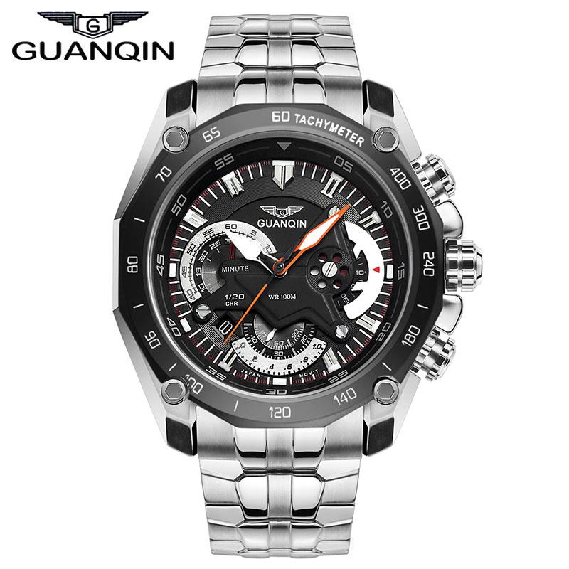 GUANQIN GF0524 Racing speed master series luminous three eye sports watch font b quartz b font