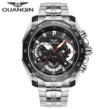 GUANQIN GF0524 Racing speed master series luminous three eye sports watch quartz stainless steel men's double Explicit black