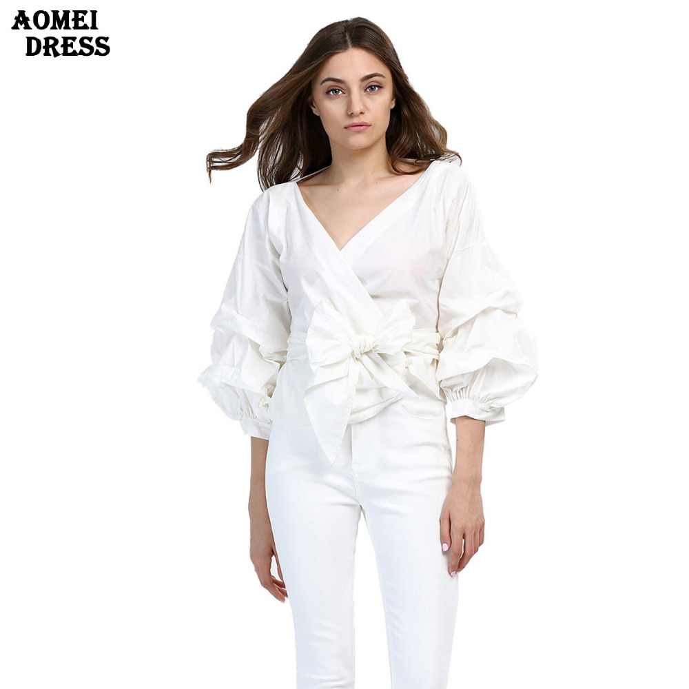 classy tops women fashion white ruffles blouse v neck ladies elegant 7465