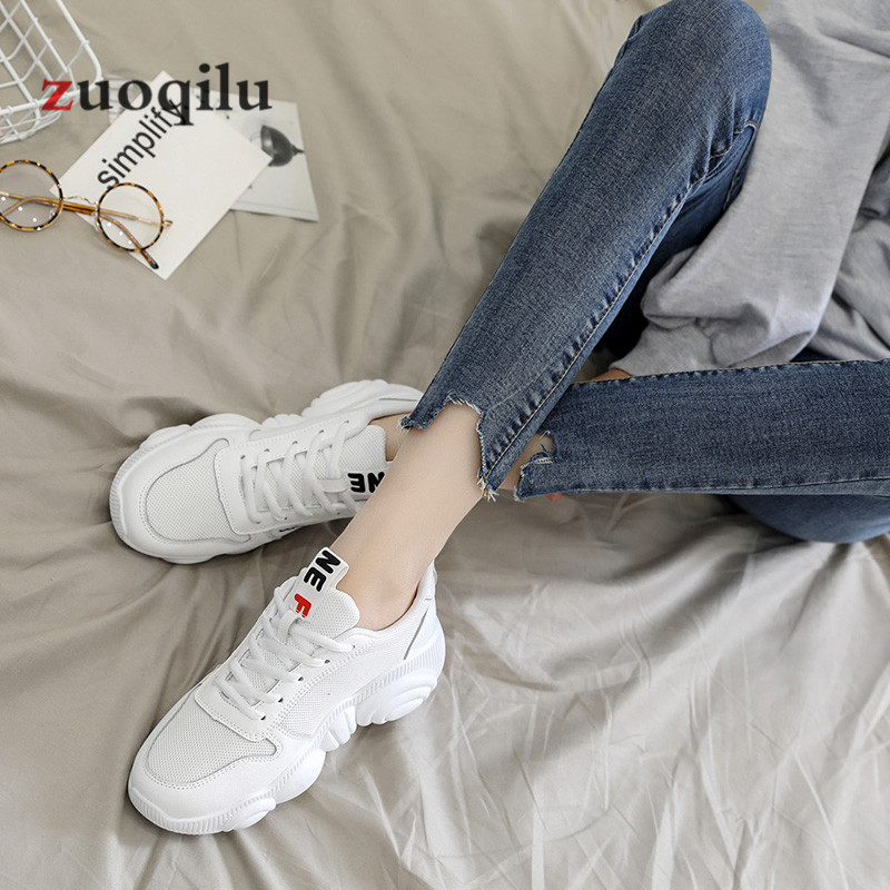 Women Casual Shoes 2019 Spring Mesh Platform Women Shoes Lace-Up Breathable Shoes Woman White Zapatillas Mujer 5