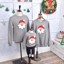 wholesale Family look matching pajamas mother daughter clothes winter plus thick velvet round neck clothing christmas sweater