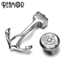 REAMOR 316l Stainless steel Anchor Connectors Compass/Rudder Beads Jewelry Sets Charms For Leather Bracelet DIY Jewelry Findings