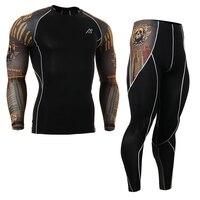 All Season Professionale degli uomini di Compressione Shirt & Pants Set Manica Lunga Allenamento Abbigliamento Quick Dry Calzamaglia Fitness MMA Yoga