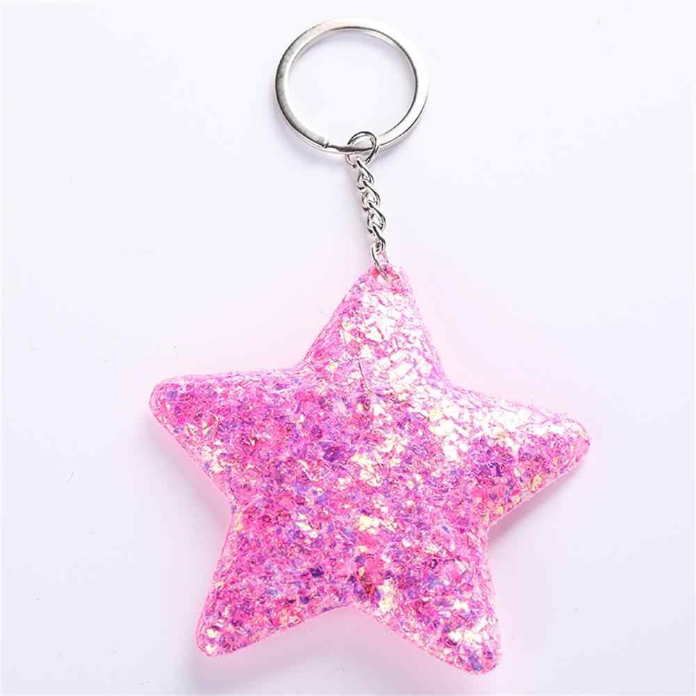 2019 Nova Moda Na Moda Keychain Cinco Estrelas Glitter Lantejoulas Saco de Presentes Para As Mulheres Carro Chaveiro Acessórios Anel Chave