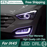 AKD Car Styling Fog Lamp for Hyundai IX45 LED DRL 2015 New Santa Fe LED Daytime Running Light Fog Light Parking Accessories