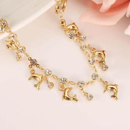 PNG Charm dolphin shell starfish Bracelet for Women Gold Christmas gifts cute kids girls Hand Chain Jewelry anklets Arab gift