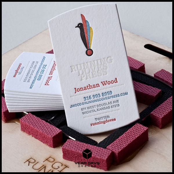 Custom Letterpress Business Cards Printing 600gsm Cotton Paper Full Color Both Sides Name New Special Shape