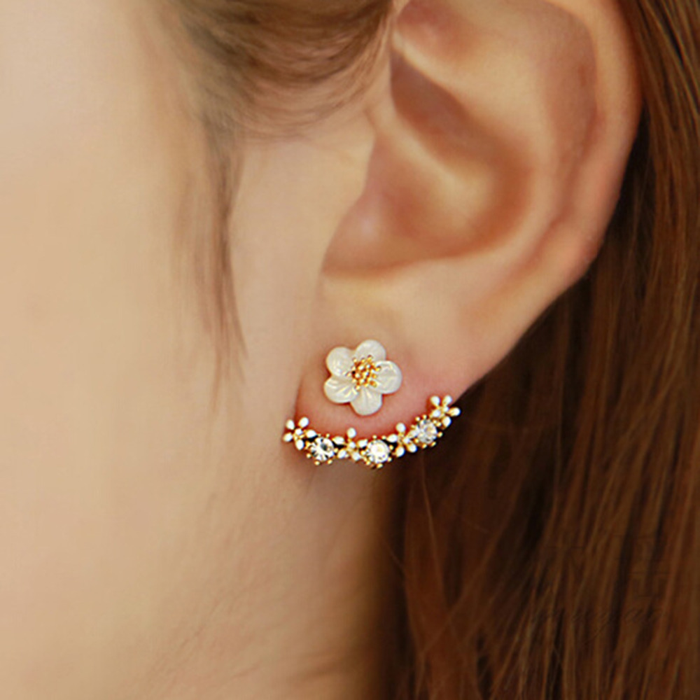 Flower Crystals Stud Earring Rose gold color Double Sided Fashion Jewelry Earrings For Women female Ear brincos Pending