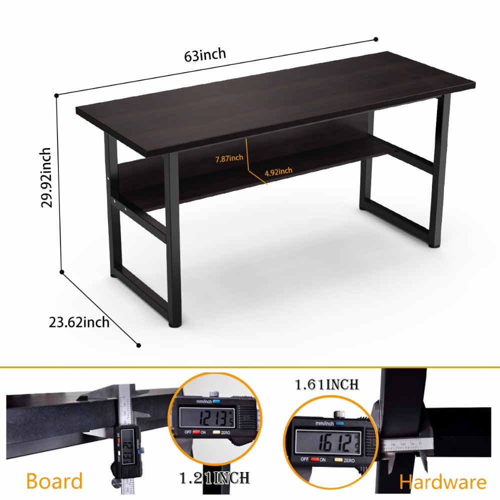 63 Computer Desk With Bookshelf Office Writing Workstation 2 In 1 And Bookcase PC Laptop Study Table For Home Desks From