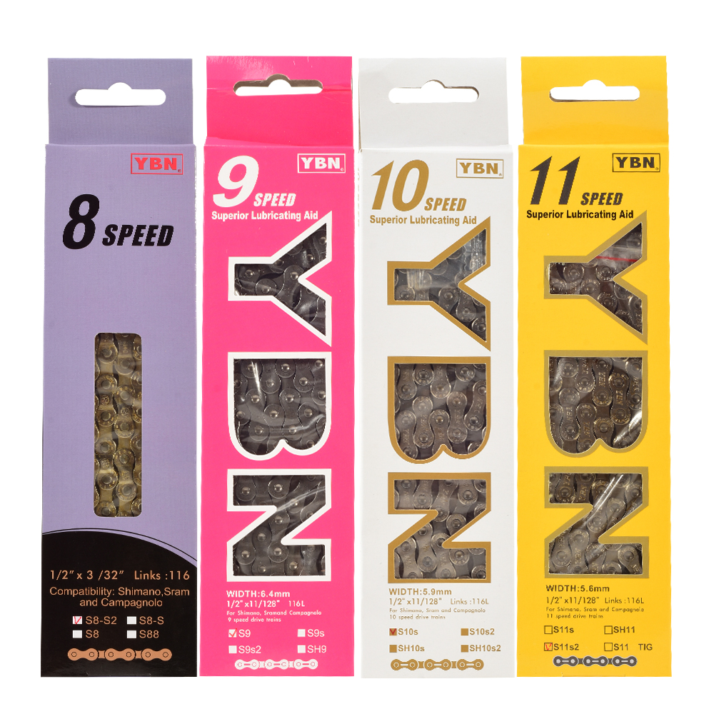 """YBN 9 Speed Bicycle Chain 1//2/""""x11//128/"""" 116L Fit Shimano Sram Campangnolo Gold"""