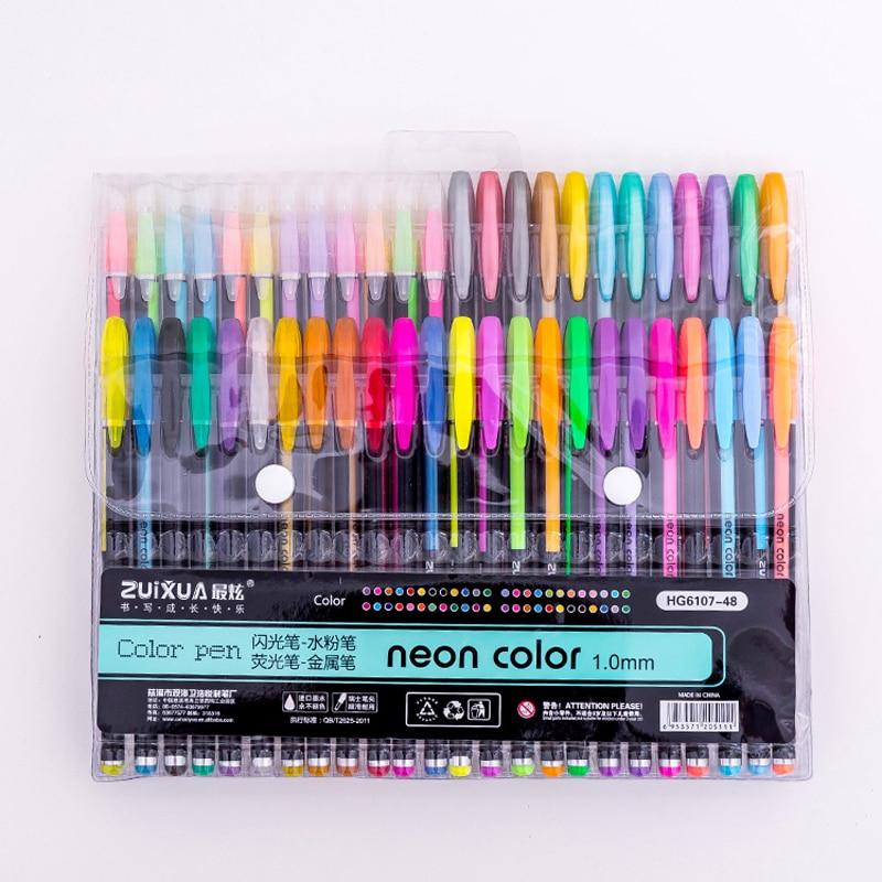 Набор гелевых ручек 48 цветов, маркеры для рисования с цветными блестками, школьные и офисные канцелярские принадлежности для письма, подарк...