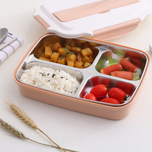 JINJIAN Stainless Steel Japanese Lunch Box With Spoons Compartments Microwave Bento Box For Kids School Picnic Food Container