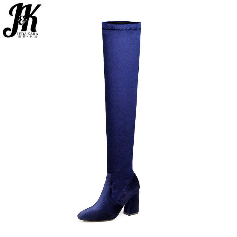 JK Winter Thick High Heels Stretch Boots Flock Female Shoes 2018 New Autumn Over The Knee Elastic Boot Warm Hoof Heels Footwear 20cm high height sex boot pu platform hoof heels over the knee boot no wg11b