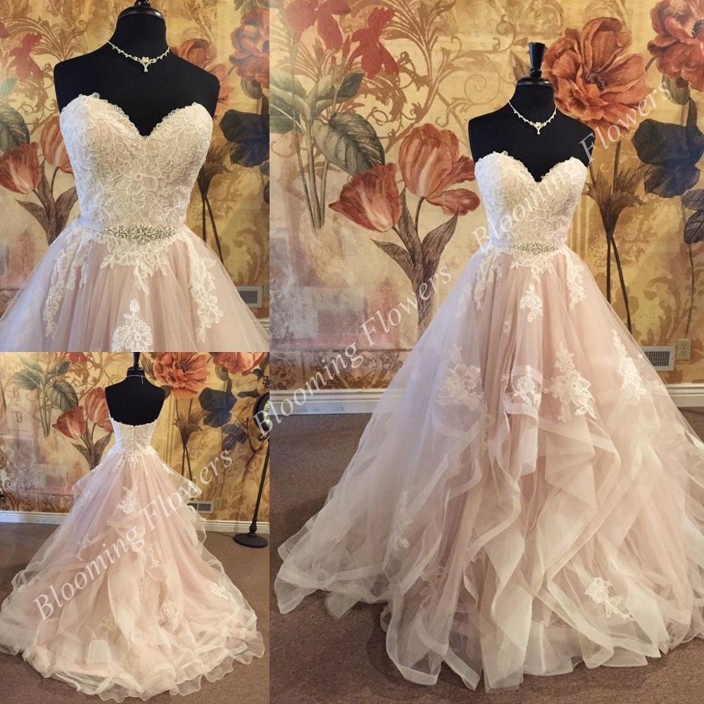 641407bdda22 Blush Ivory Wedding Dresses 2019 vestido de noiva Ball Gown Sweetheart  Neckline Ruffles Bridal Gown robe