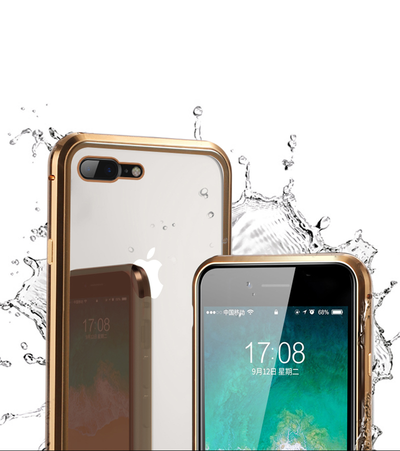 Luxury Double sided front+back clear glass metal Magnetic case for iphone 7 8 plus iphone X XR XS Max phone case 360 cover coque (5)