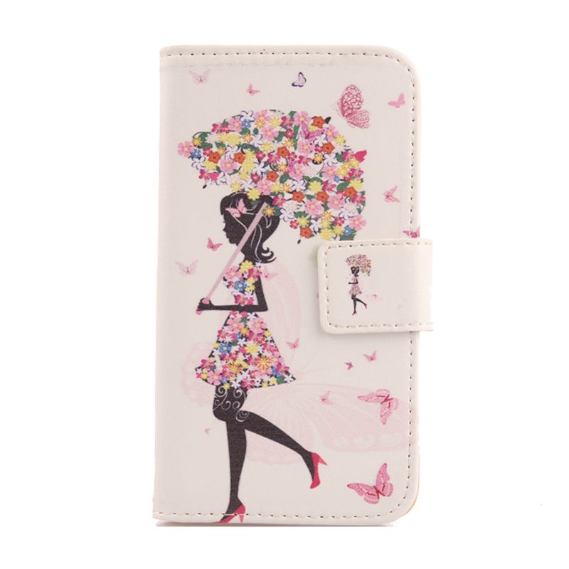 LINGWUZHE Colored Drawing PU Leather Case Cell Phone Wallet Cover For Creev Mark V Tough 4G LTE 5''
