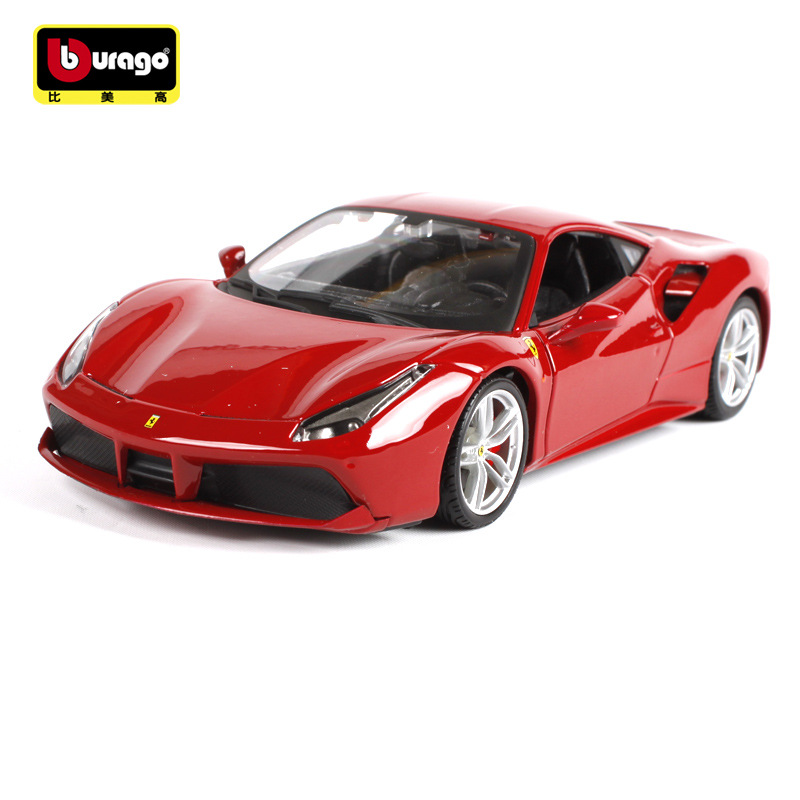 1 24 Simulation alloy sport car Diecast model toy For Ferrarie 488 with Steering wheel control
