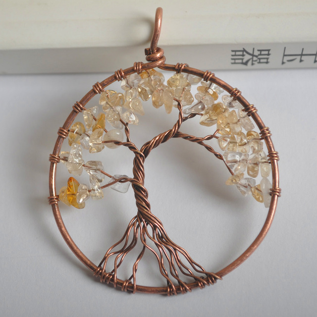 Copper Wire Wrap | Lucky Handmade Tree Of Life Yellow Crystal Bronze Copper Wire Wrap