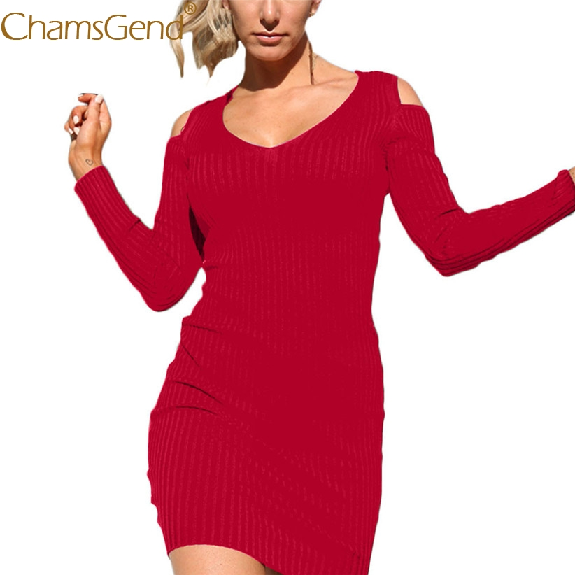 Chamsgend Hot Women Autumn Long Sleeve V Neck Off Shoulder Knitted Dress Bodycon Sheath Party Vestido 71027 Drop Shipping hot pink one shoulder ruched bust slit long party dress