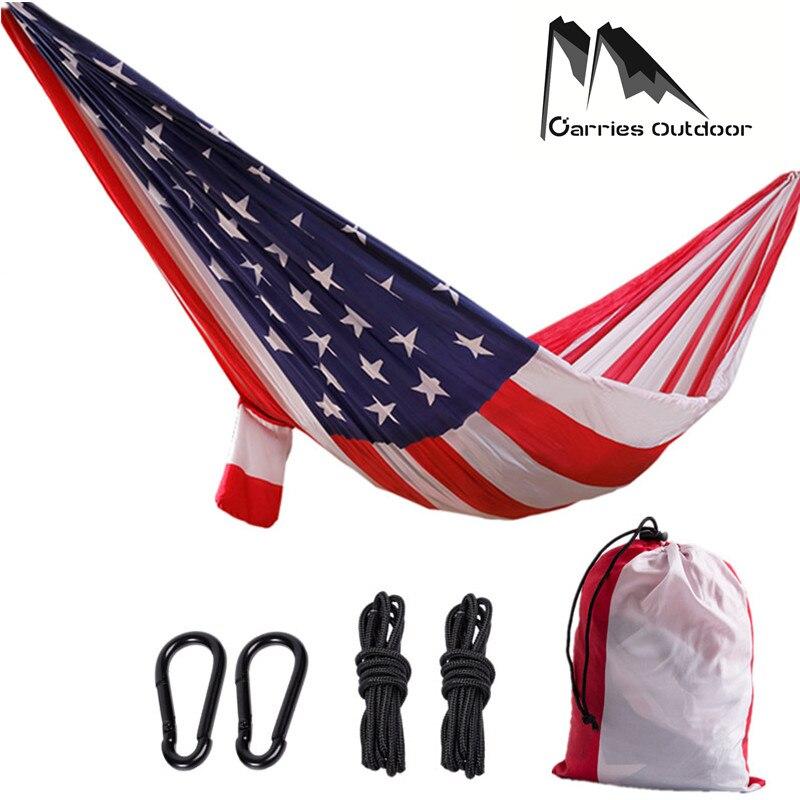ARRIES Кемпинг американский флаг печати гамак Портативный нейлон парашют выживания сад Flyjnit охоты висит кровать