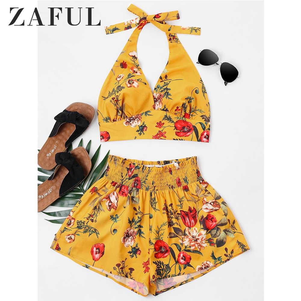 ZAFUL Women Set Summer Halter Sleeveless Floral Crop Top Elastic Waist Shorts Two Piece Set Casual Beach Suit Women's Clothing