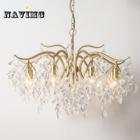 Modern Crystal Chandelier Lighting For Dining Room Bedroom Living Room Kitchen Led Copper Pendant Lamp Branch