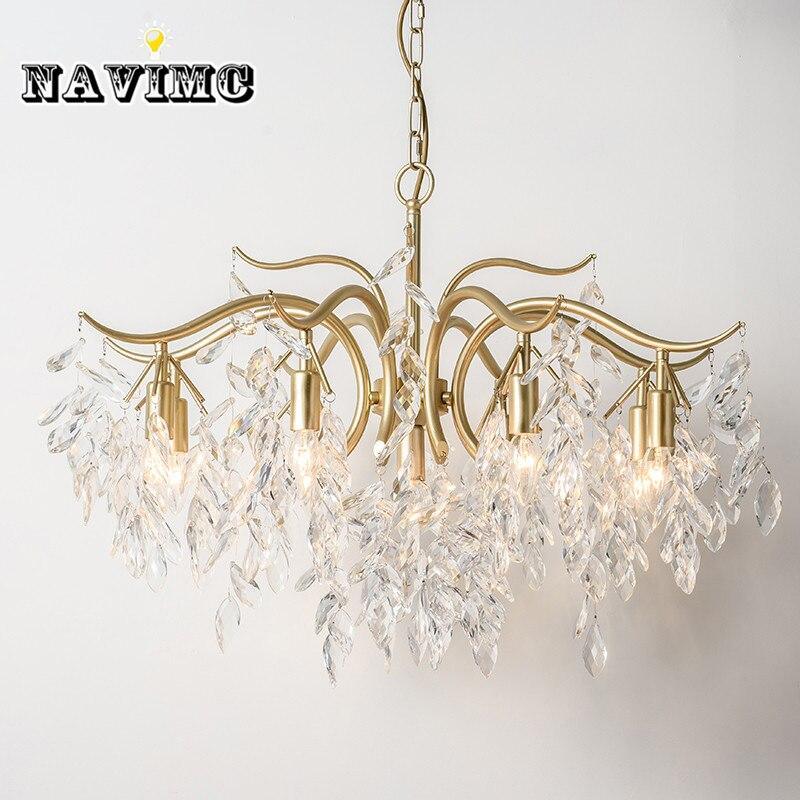 Moderne Cristal éclairage de chandelier pour Salle À Manger Chambre Salon Cuisine led pendentif cuivre Lampe Branche lampe en forme d'arbre