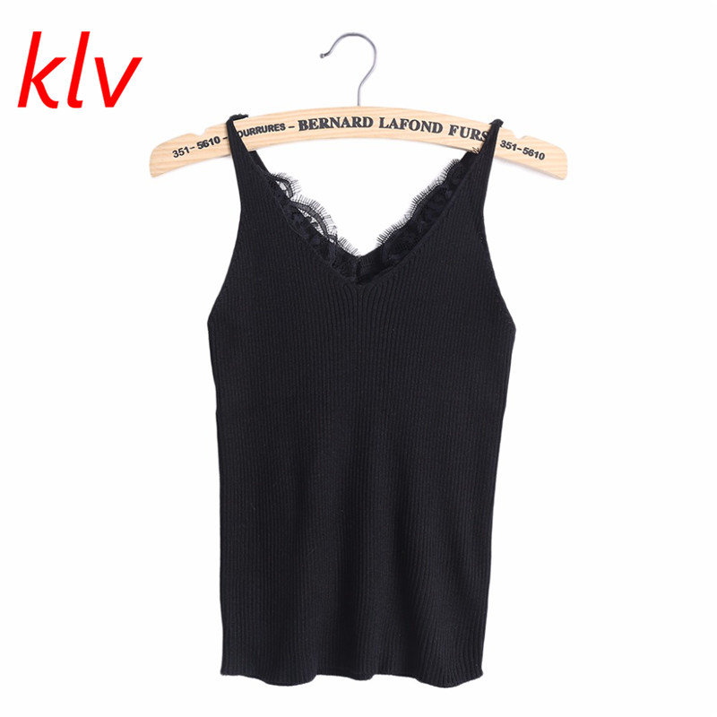 KLV 2017 New knitted   Tank     Tops   Women Summer Camisole Vest simple Stretchable Ladies V Neck Slim Sexy Strappy Camis   Tops