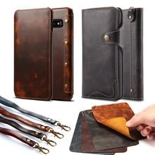 Echt Lederen Case Voor Samsung Note 20 10 S8 S9 S10 S20 Wallet Flip Cover Voor Iphone 12 11 pro Max X Xs Max Xr 6S 7 Plus