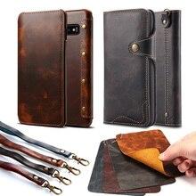 Gerçek hakiki deri kılıf Samsung not 20 10 S8 S9 S10 S20 cüzdan kapak çevirin iphone 12 11 pro MAX X XS MAX XR 6S 7 artı