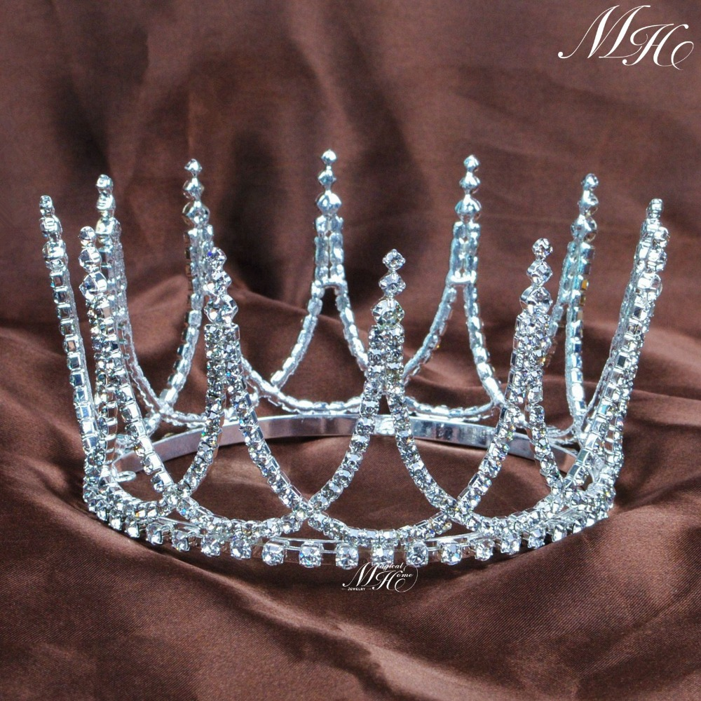 Crowns full circle round tiaras rhinestones crystal wedding bridal - Elegant Small Tiaras Round Crowns Wedding Bridal Handmade Rhinestones Crystal Silver Headpiece Pageant Party Prom Costumes