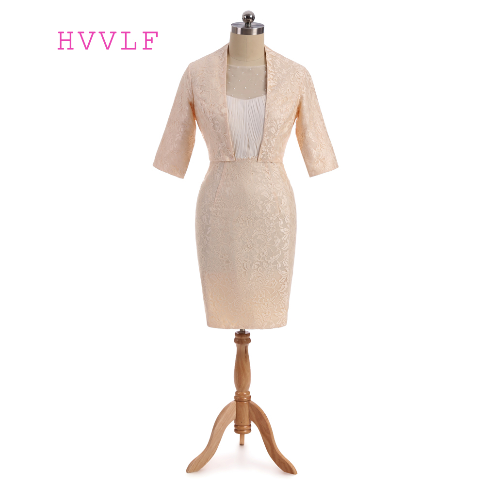 Champagne 2019 Mother Of The Bride Dresses Sheath With Jacket Beaded Lace Wedding Party Dress Mother Dresses For Wedding